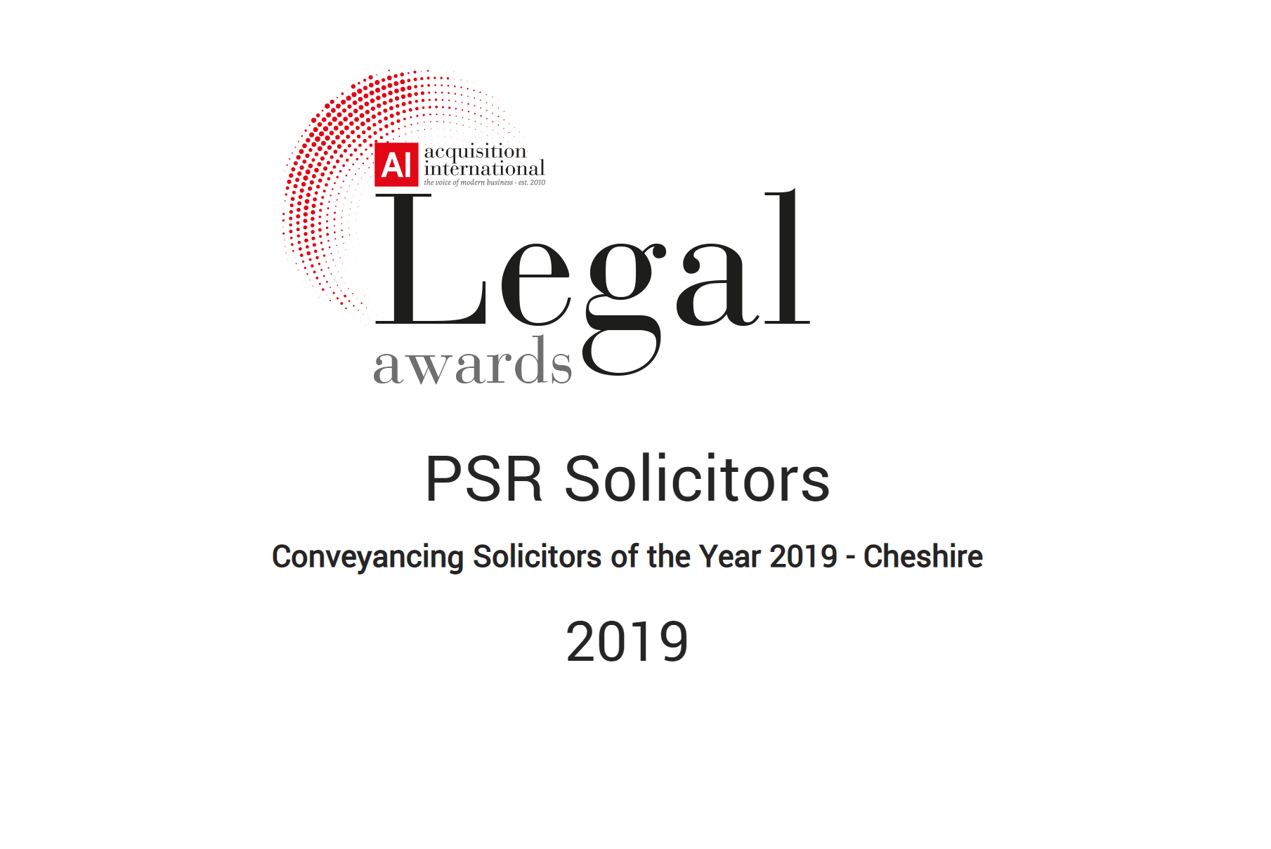 Conveyancing Solicitors Of The Year 2019