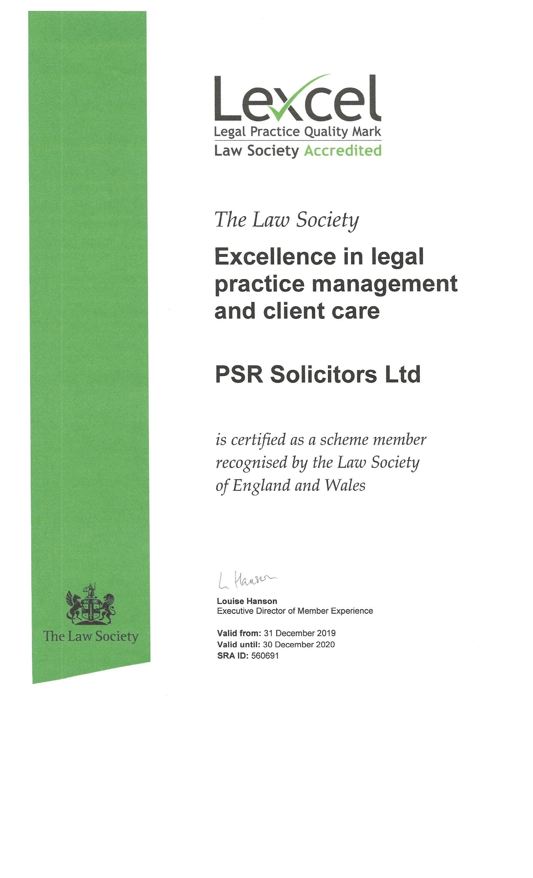 PSR Solicitors Lexcel Accreditation 2020 for Legal Excellence